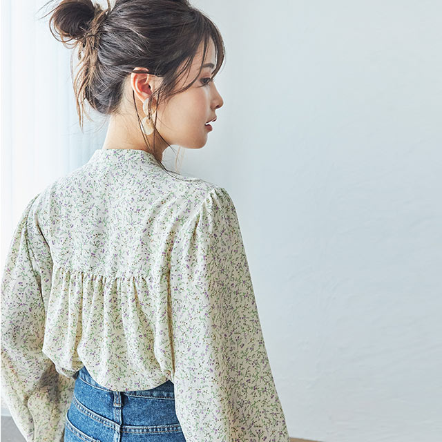 【1/27(wed)19:00〜】retro flower blouse[4617C]