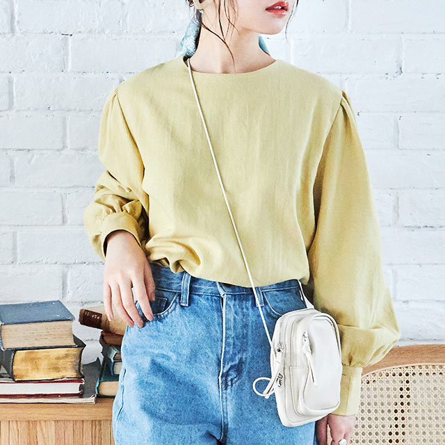 linen-like smock blouse[4618C]