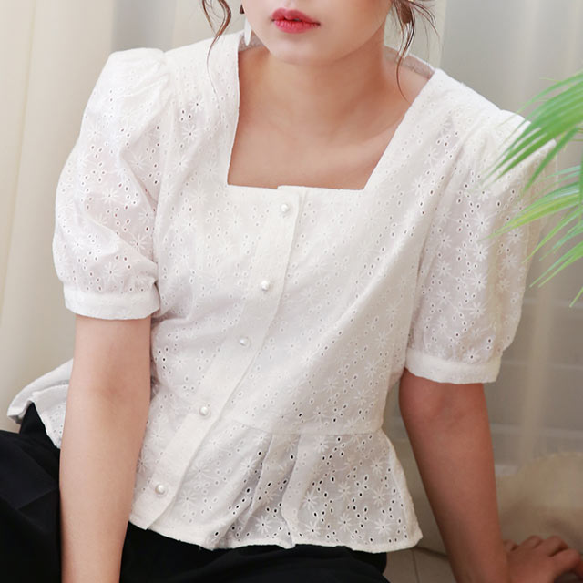 【7/1(wed)19:00〜】puff sleeve lady blouse[4675C]