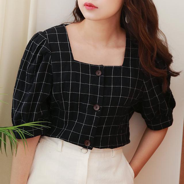 windowpane pattern blouse[4677C]