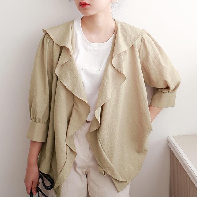 【yon's select】ruffle shawl blouse[4679C]