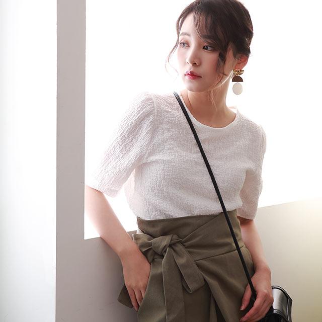 crepe material half sleeve blouse[4686C]