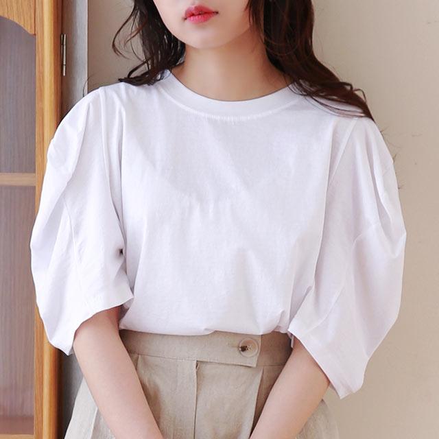 ≪トップス全品送料無料≫half puff sleeve t-shirt[4741C]