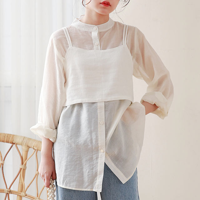 【MERY × Isn't She?】bustier x sheer shirt set[4748Z]【7月中旬予約】