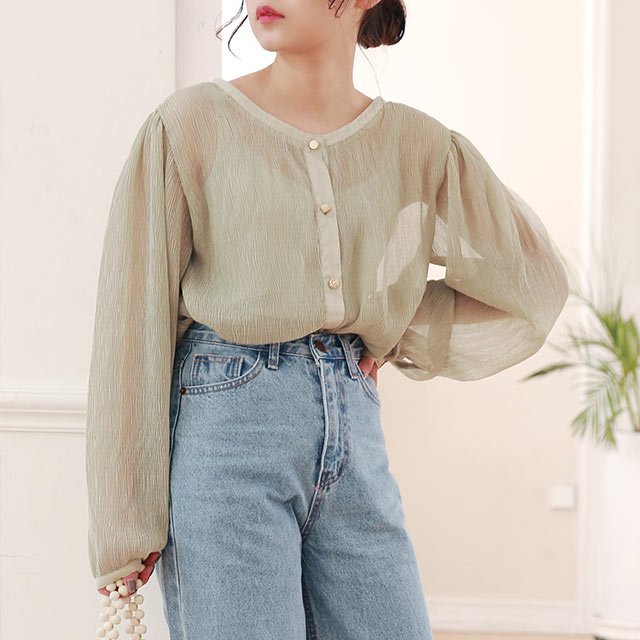 ≪トップス全品送料無料≫【MERY × Isn't She?】crinkle assorted button blouse[4749Z]