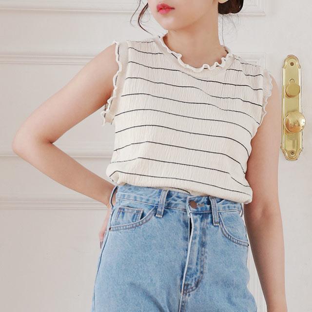 border sleeveless t-shirt[4758C]