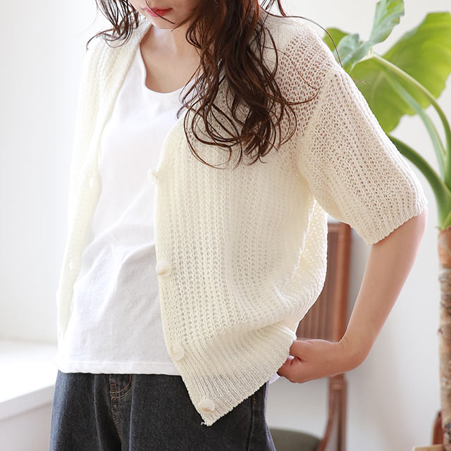 summer knit short sleeve cardigan[4780C]