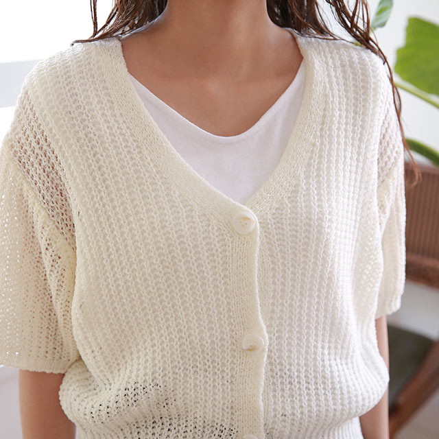 【7/19(sun)19:00〜】summer knit short sleeve cardigan[4780C]