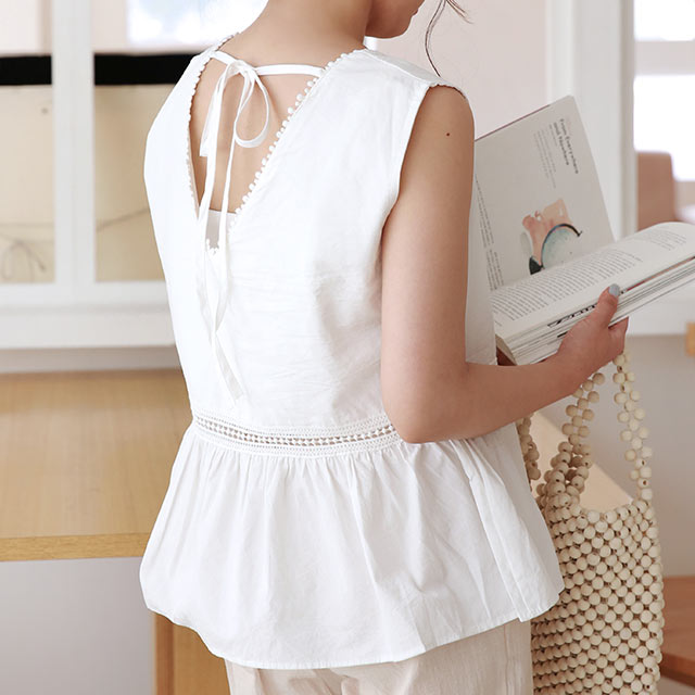 ≪トップス全品送料無料≫back ribbon sleeveless blouse[4792C]