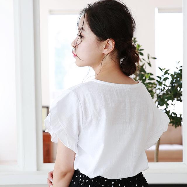 ruffle sleeve blouse[4796C]