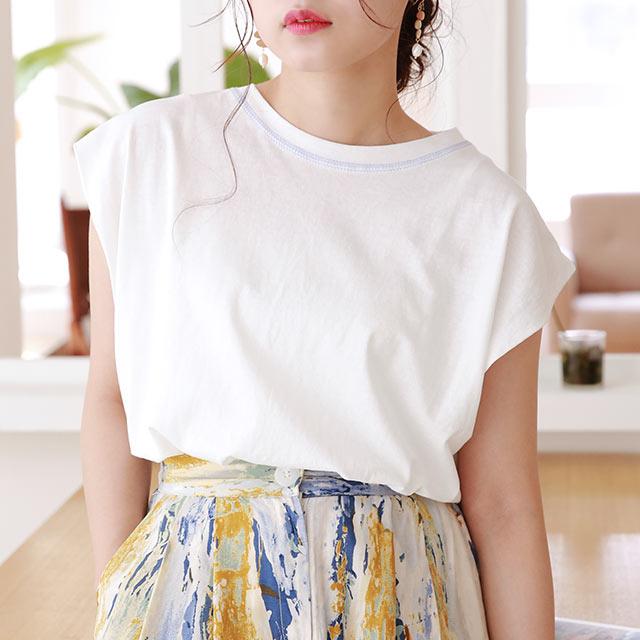 ≪トップス全品送料無料≫stitch point sleeveless t-shirt[4798C]