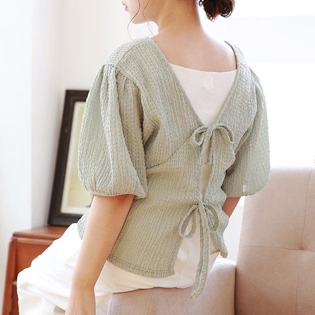 【7/7(tue)19:00〜】crepe material back ribbon blouse[4800C]