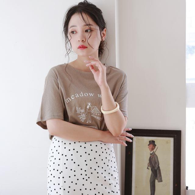 ≪トップス全品送料無料≫simple print t-shirt[4801C]