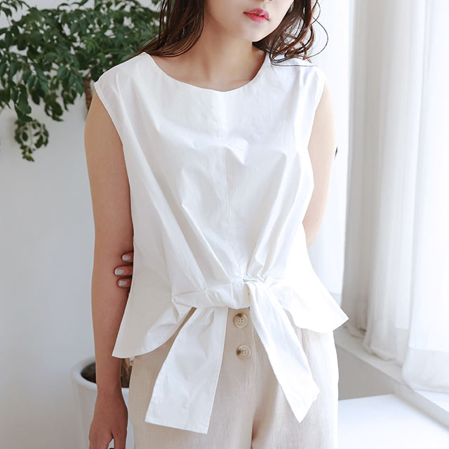 【7/14(tue)19:00〜】front ribbon sleeveless blouse[4802C]