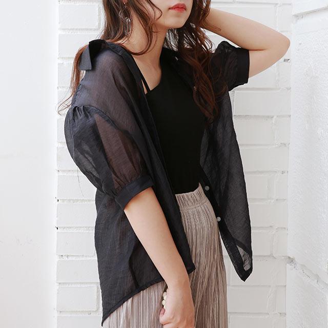 sheer short sleeve shirt[4806C]