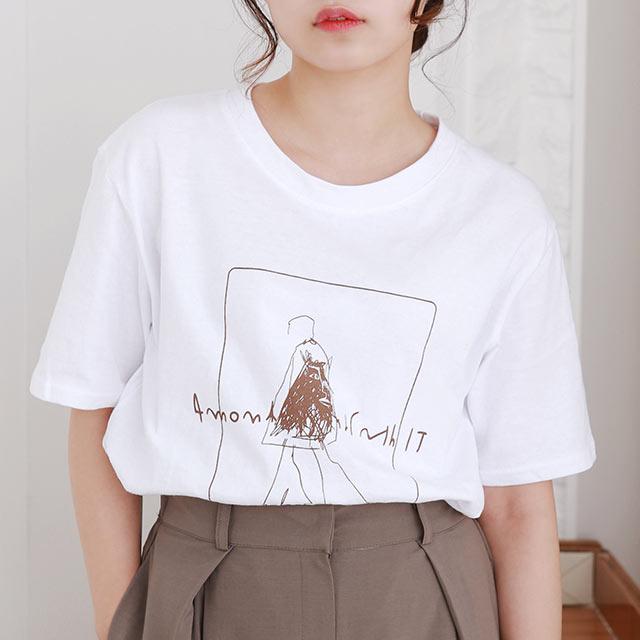 ≪トップス全品送料無料≫illustration point t-shirt[4858C]