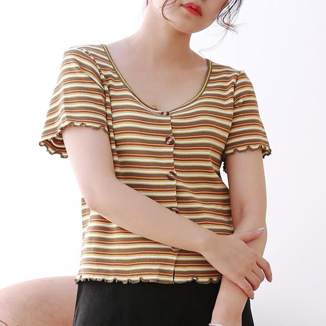 ≪トップス全品送料無料≫multi-border summer knit cardigan[4860C]