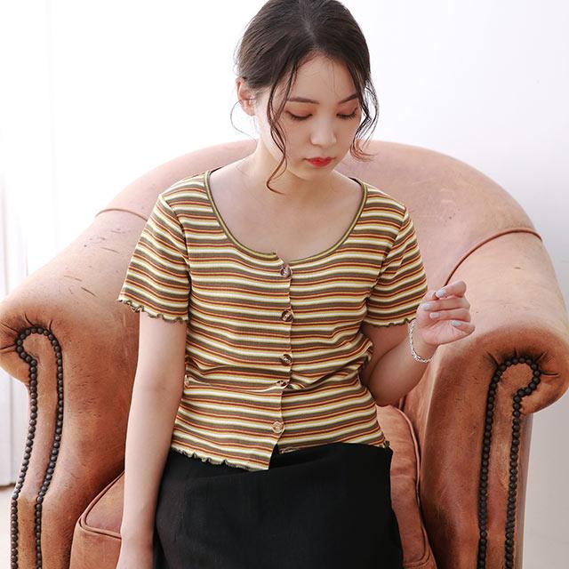 multi-border summer knit cardigan[4860C]