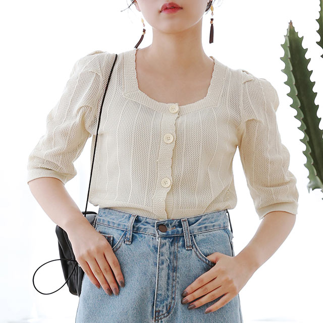 ≪トップス全品送料無料≫square neck summer knit cardigan[4869C]