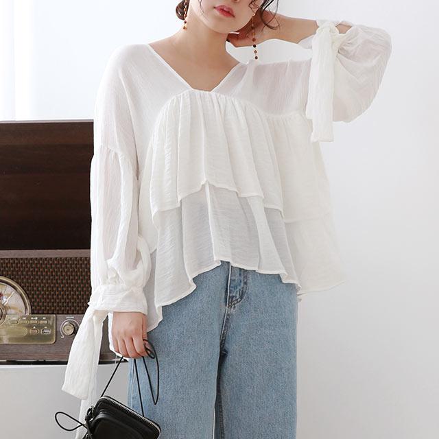 ≪トップス全品送料無料≫ruffle point blouse[4876C]