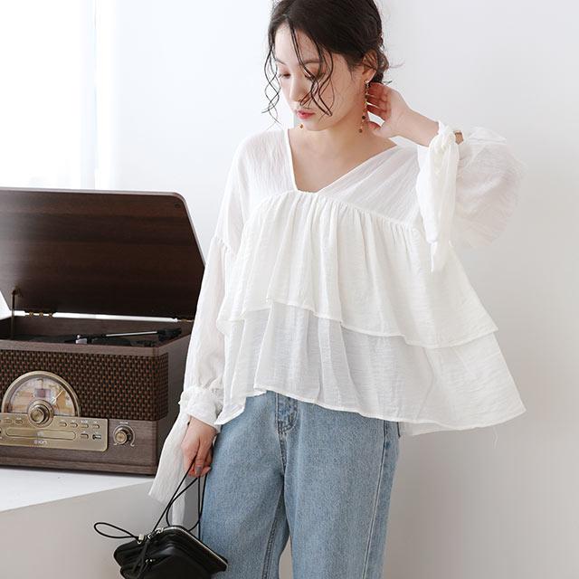 【8/13(thu)19:00〜】ruffle point blouse[4876C]
