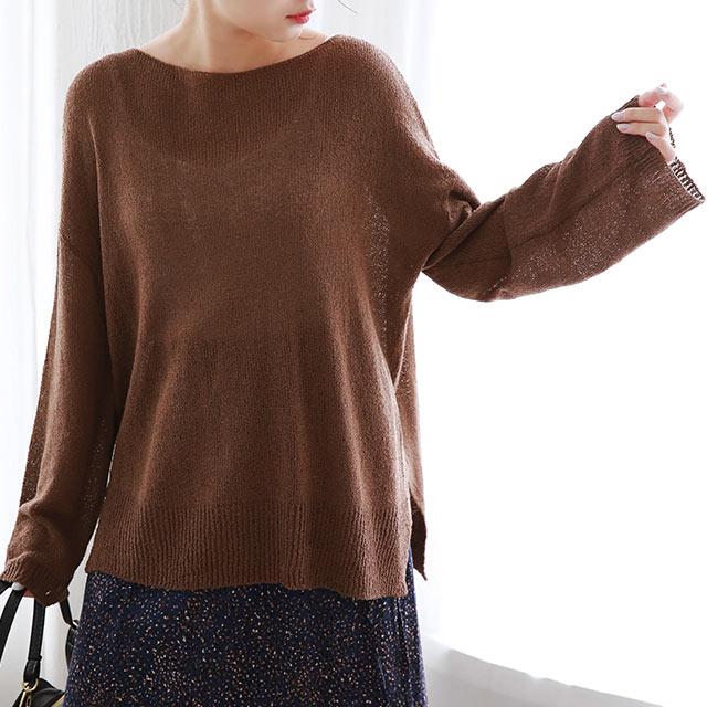 sheer knit tops[4946C]