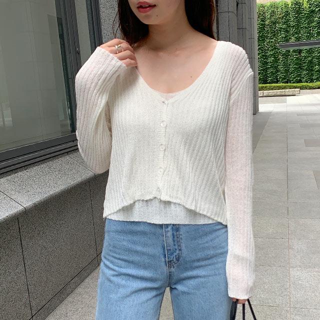 knit tank x cardigan set[4956C]