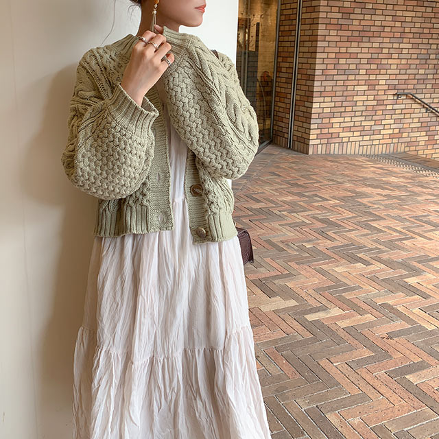 【MERY × Isn't She?】cable knit cardigan[4977C]≪送料無料≫