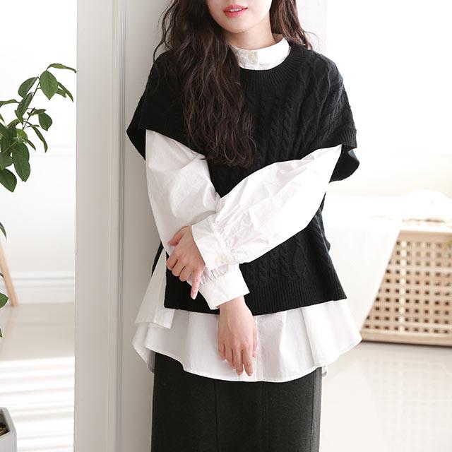 knit vest × flare shirt set[4980C]