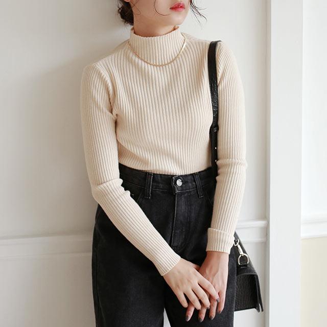 【10/20(tue)19:00〜】rib high neck knit[5020C]