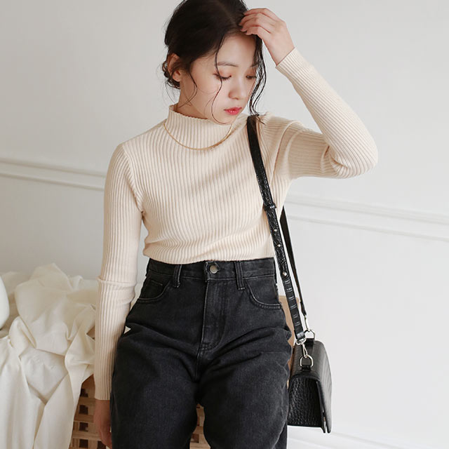 rib high neck knit[5020C]