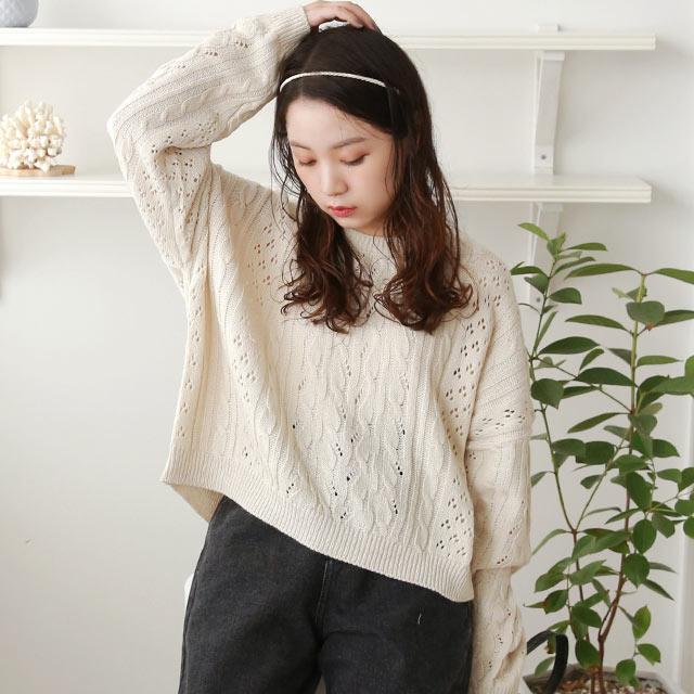 ≪店内全品ポイント7倍!!≫cable short knit[5022C]