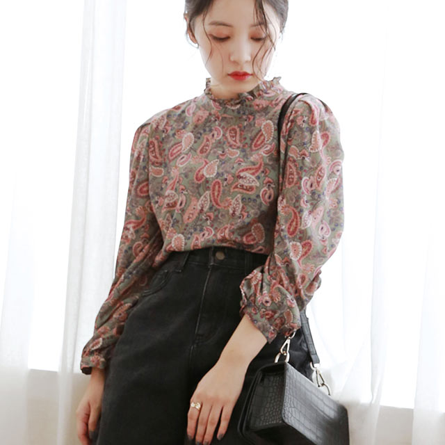 <FLYING SALE>paisley pattern blouse[5024C]