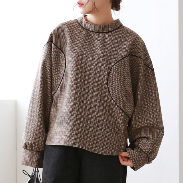 check piping blouse[5031C]