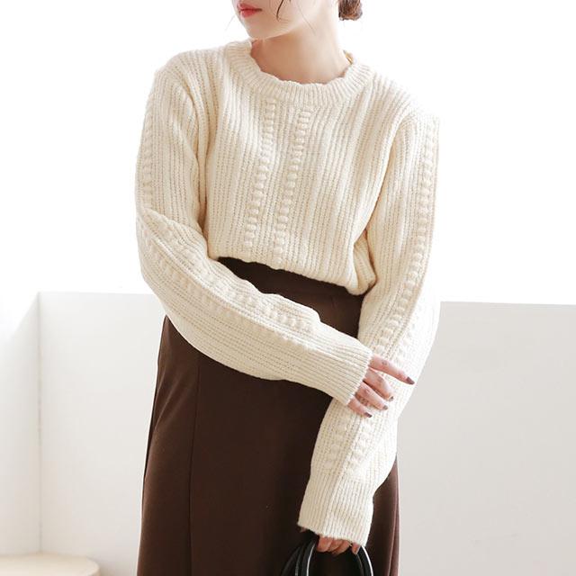 scallope design knit[5117C]