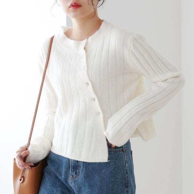 asymmetry button knit cardigan[5120C]