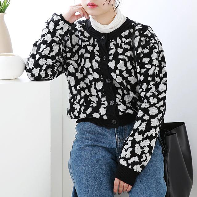 leopard knit cardigan[5124C]