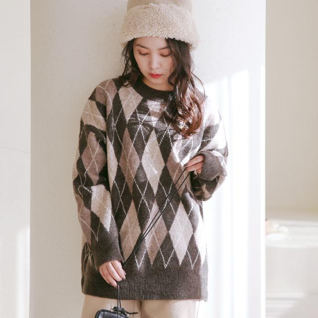 argyle long knit[5179C]