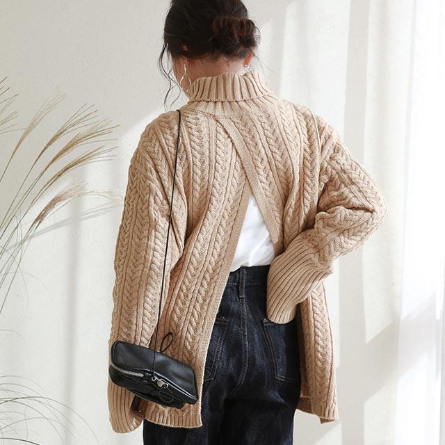 【12/1(tue)19:00〜】back open turtleneck knit[5180C]