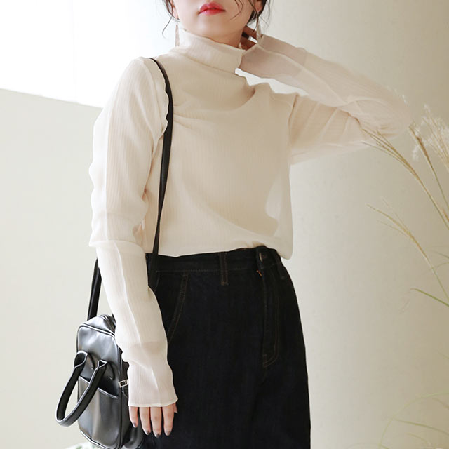 sheer high neck blouse[5185C]