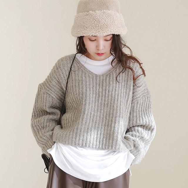 relax short v-neck knit[5186C]