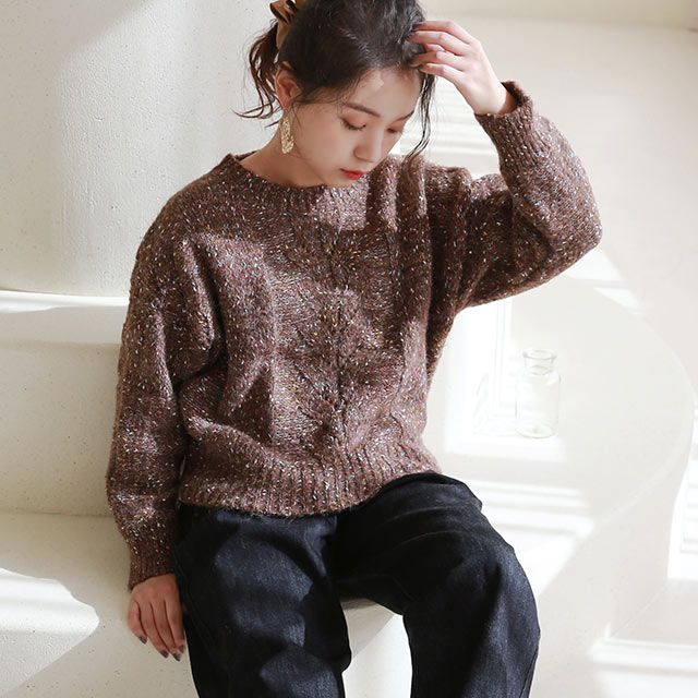 front cable mix knit[5189C]