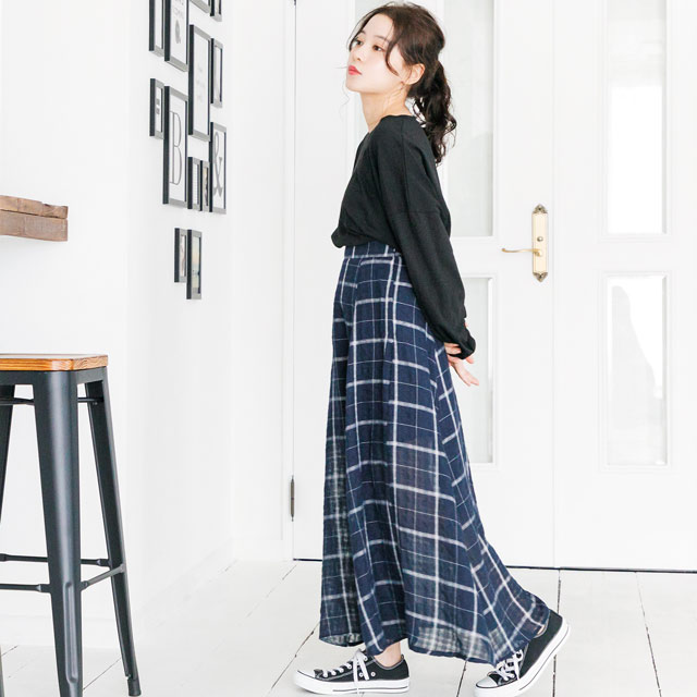 <FINAL SALE>check maxi skirt[519M]