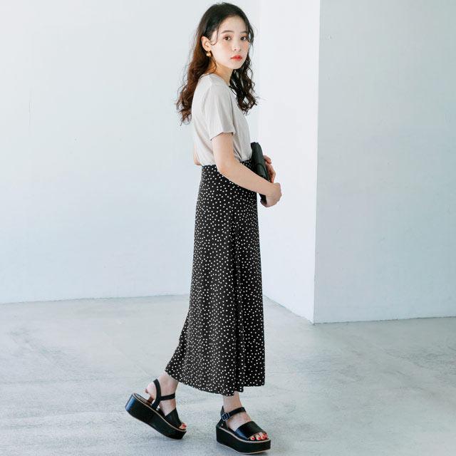 ドット柄ミディ丈スカート(全3色)[520M]