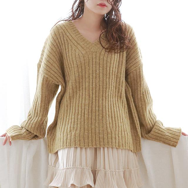thick rib v neck knit[5234C]
