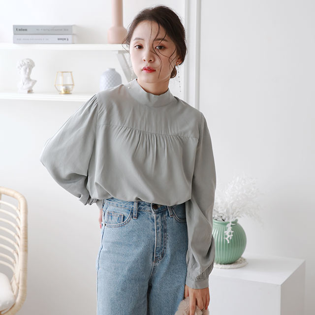 back-button high-neck blouse[5239C]