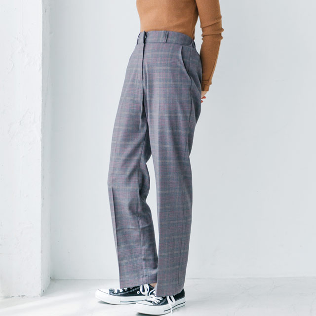 check wide pants[525M]
