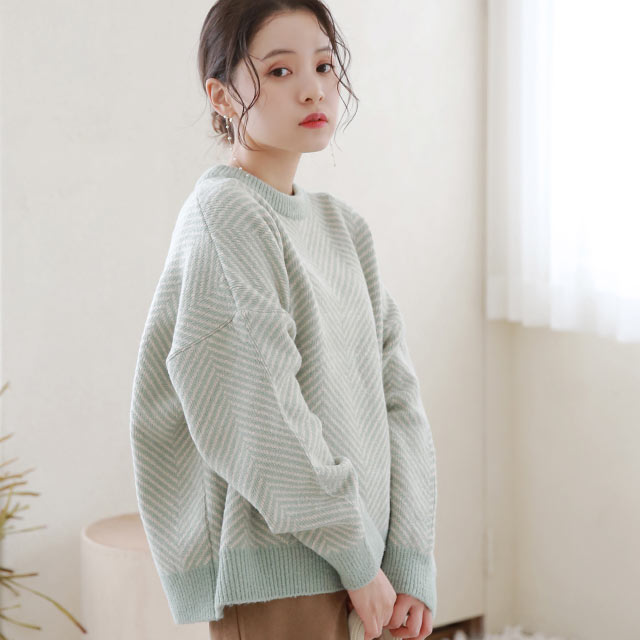 【1/24(sun)19:00〜】herringbone pattern knit[5300C]