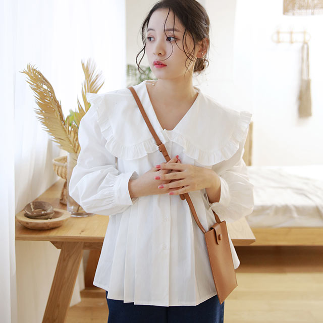 【1/28(thu)19:00〜】big-collar cotton blouse[5305C]