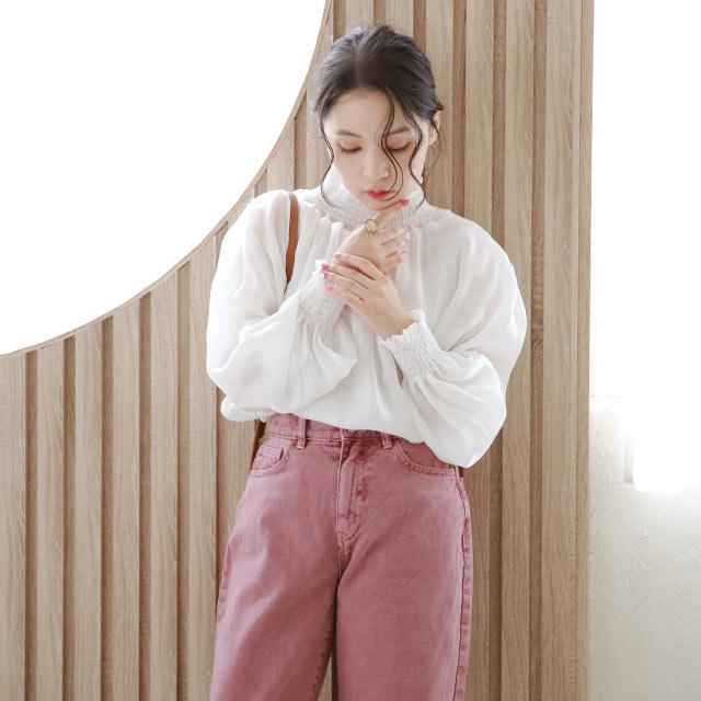 【2/23(tue)19:00〜】sheer shiny blouse[5308C]